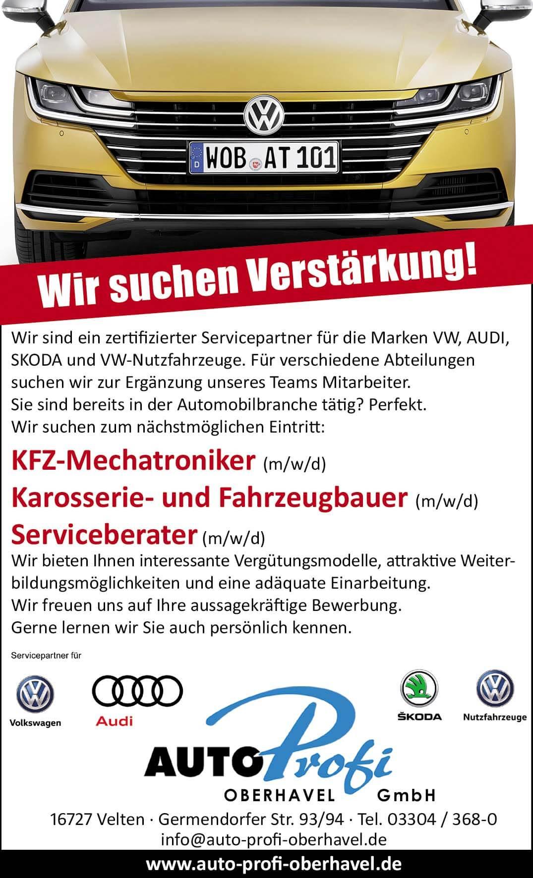 Stellenanzeige, KFZ-Mechatroniker (m/w/d) Karosserie- und Fahrzeugbauer (m/w/d) Serviceberater (m/w/d) velten